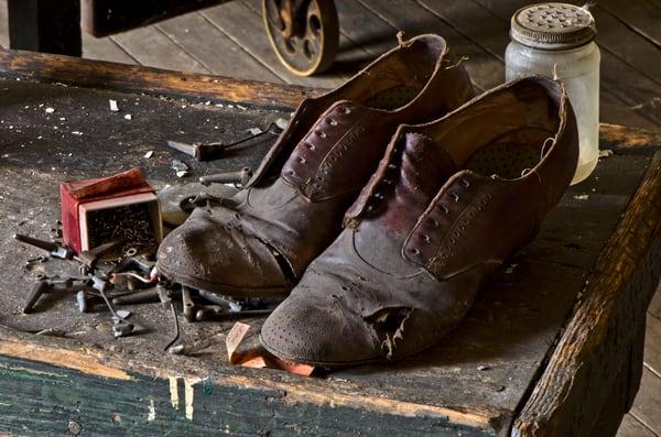 Unlaced Leather Shoes Vintage Prints