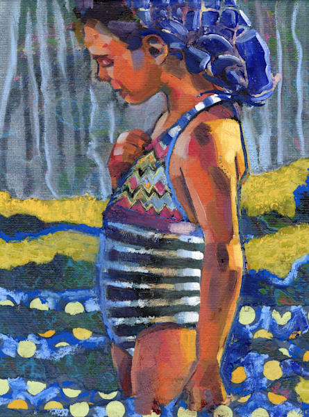 Contemporary oil painting of a girl on the beach in a striped bathing suit.