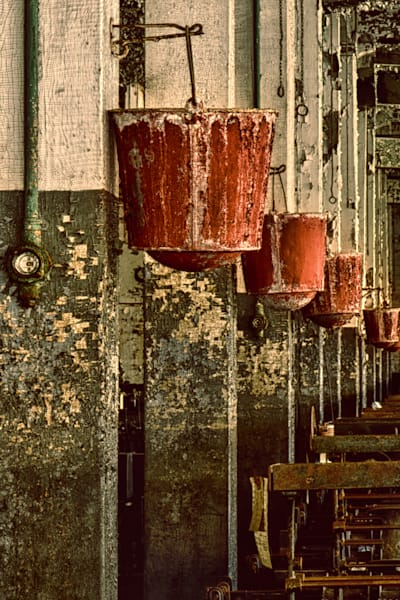 Historic Industrial Mil Red Bucket
