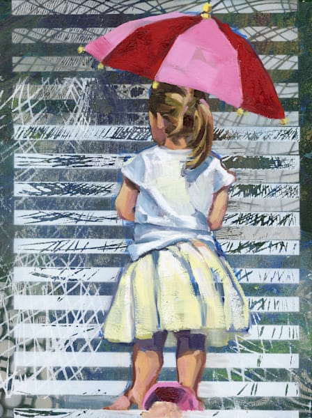 Painting of Girl in a tutu dress with pink red umbrella.