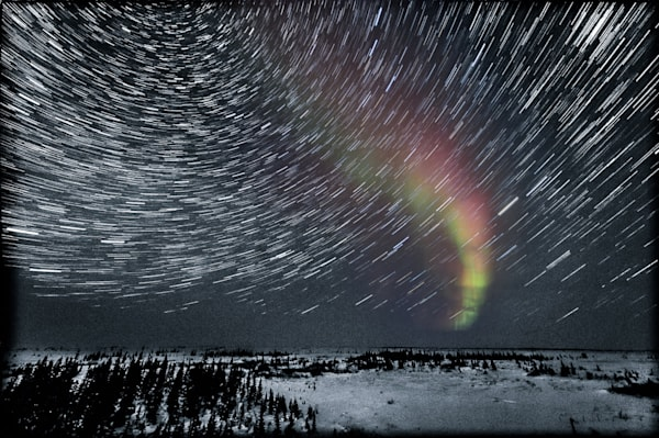 Aurora and Star Trails in a Snowy Landscape