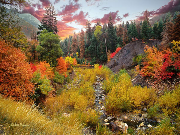 Peteetneet Creek in Payson Canyon, Utah with autumn foliage.