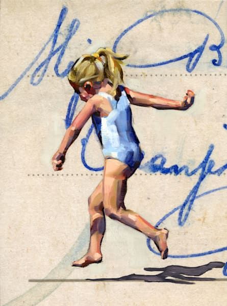 Oil painting of a skipping girl at the seaside against the background of an enlarged postcard.