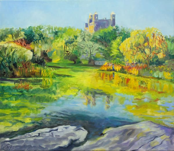 Turtle Pond, Central Park Original Oil Painting by Wet Paint NYC Artist Michael Serafino