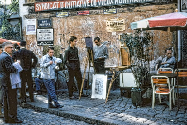 Street Artists and Crowd on Rue Norvins Paris Montmartre
