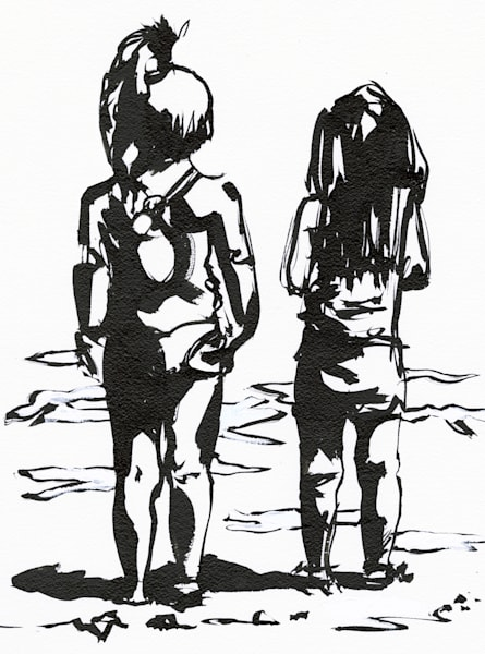 Artwork: Two girls standing on the beach looking out over sea.