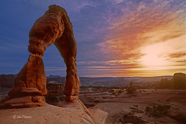 Delicate Arch at Sunset in Arches National Park, Utah