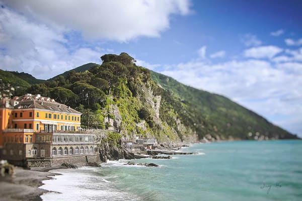 A villa on the Camogli coast photograph by Ivy Ho for sale as fine art
