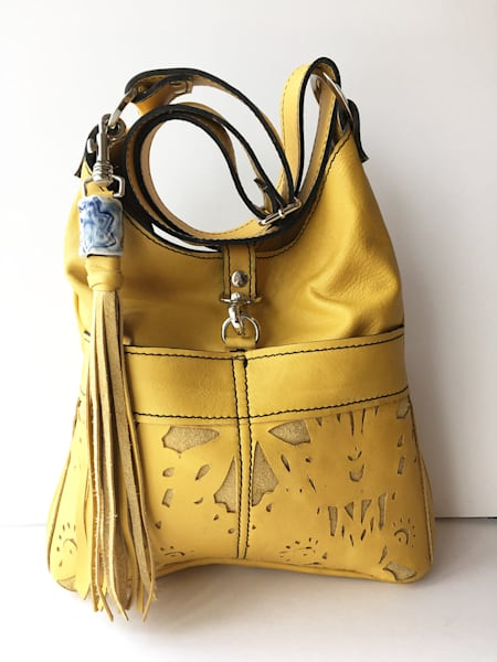 medium leather handbag in yellow