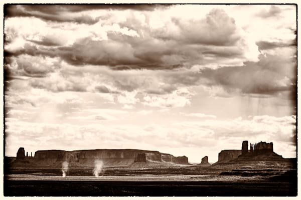 Dust Devils Near Monument Valley, sepia
