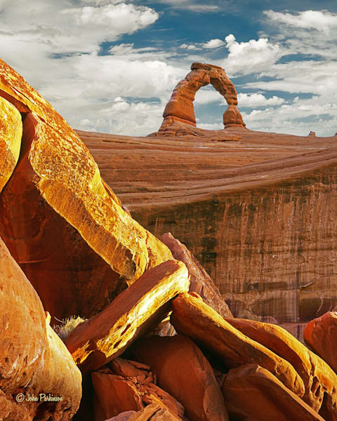 Gold and Arch, Delicate Arch in Arches National Park, Utah