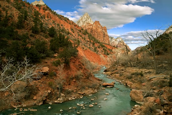 The Virgin River and the Patriarchs of Zion National Park, Utah