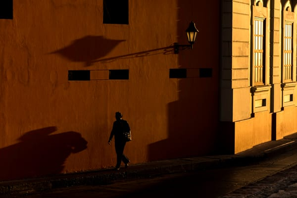 Golden afternoon light on Cartagena colonial wall