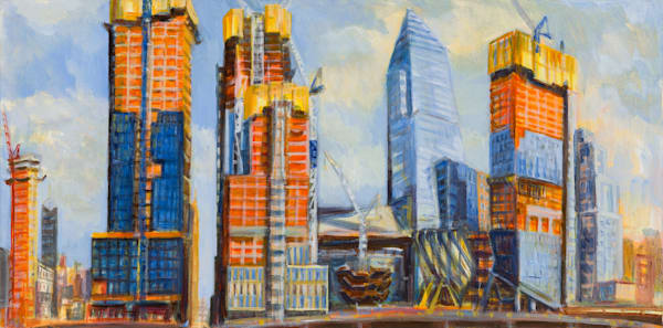 "Hudson Yards Rising, August Afternoon 2017, 15"" x 30"""