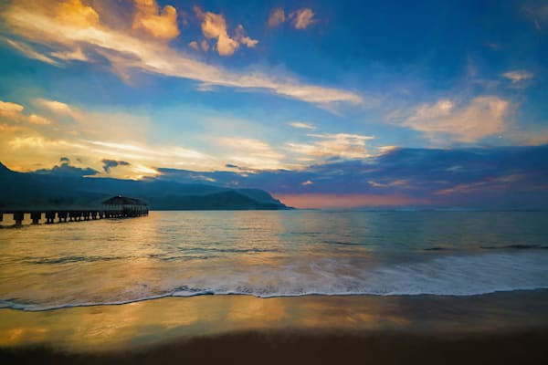 Hanalei Bay Pier At Sunset #1 Ae Photography Art | Carol Brooks Parker Fine Art Photography