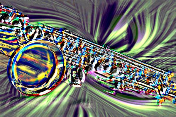 Sax Swirl Metal Art Painting in Green 3249.102