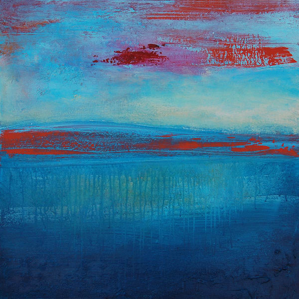 lake, ocean, dripping blue paint, touches of red and orange