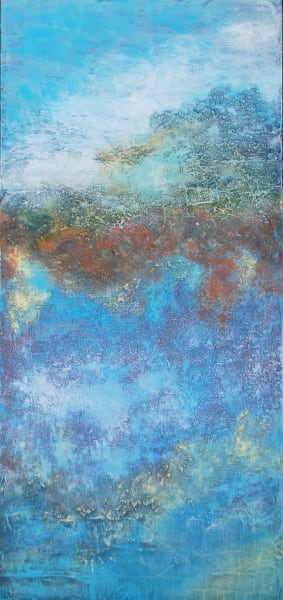 in the clouds, texture, long skinny painting, famous santa fe artist