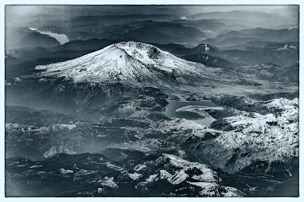 Mount St. Helens Aerial, B&W Photography Art by cbpphoto