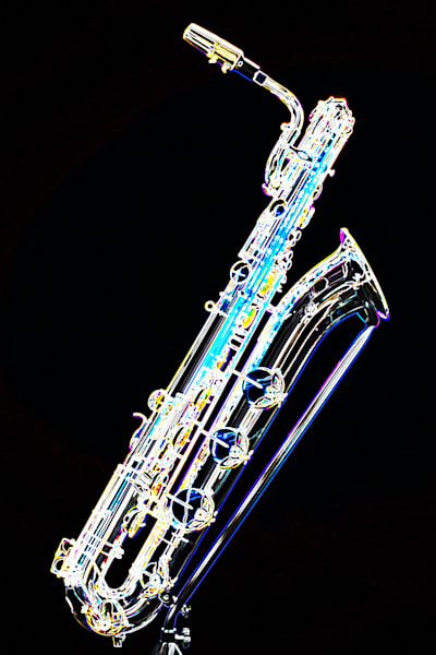 Baritone Sax Dark Drawing Print 3463.02