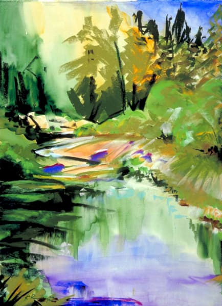 landscape painting central oregon crooked river