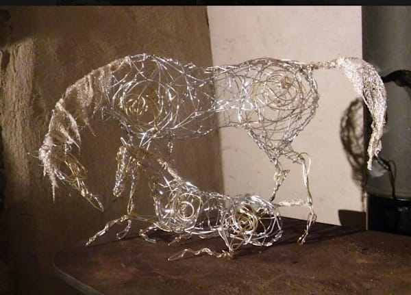 Wire Sculpture Mare And Foal Art by cbpphoto