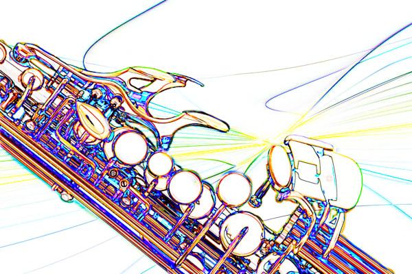 Modern Soprano Sax Watercolor 3344.602