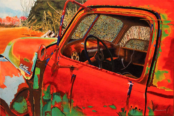 Old Red Acrylic For Sale As Fine Art by Dennis Broockerd