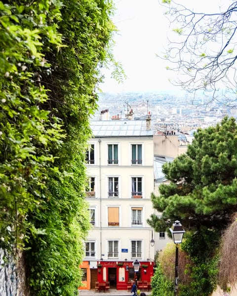 View of Paris Rooftops from Montmartre and Red Doors