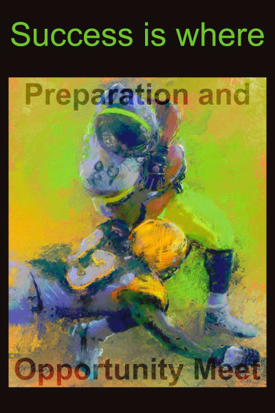 Poster of crushing football action | Sports artist Mark Trubisky | Custom Sports Art