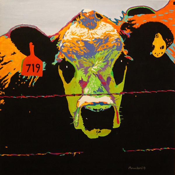 Psycho Cow Acrylic For Sale As Fine Art by Dennis Broockerd.