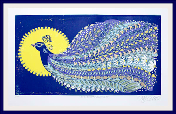 a large linocut with a peacock in full summer meadow, wildflower, blue and yellow bird print by Mariann Johansen-Ellis, art, paintings