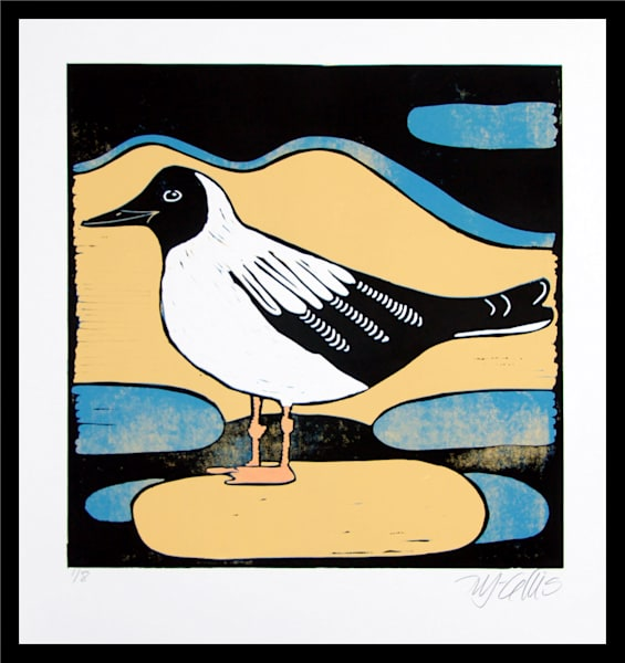 Blackheaded Gull   Linocut Reduction Art | mariannjohansen-ellis