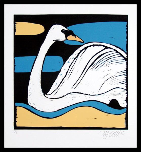 swan print, by Printmaker Mariann Johansen-Ellis