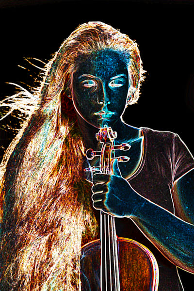 Moonlight Violin Dark Drawing 5020