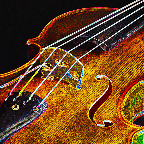 Bridge Wall Art Violin Dark Drawing 5016