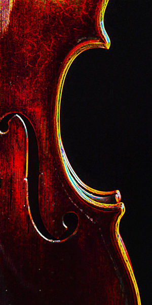 Violin Dark Drawing Wall Art 5004