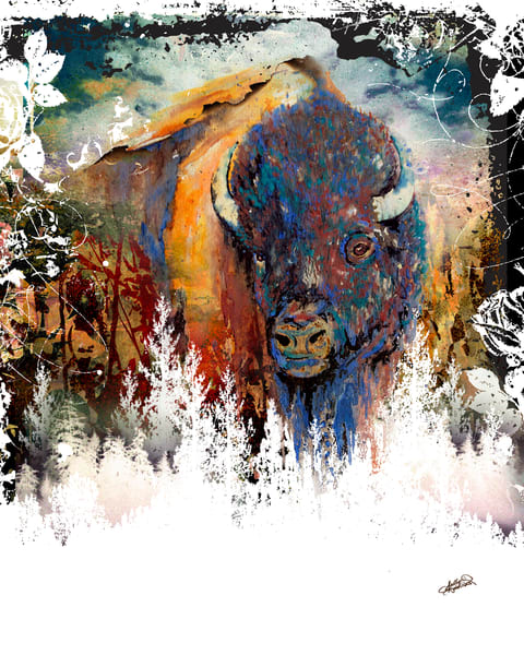 Buffalo bison painting print by Sally Barlow