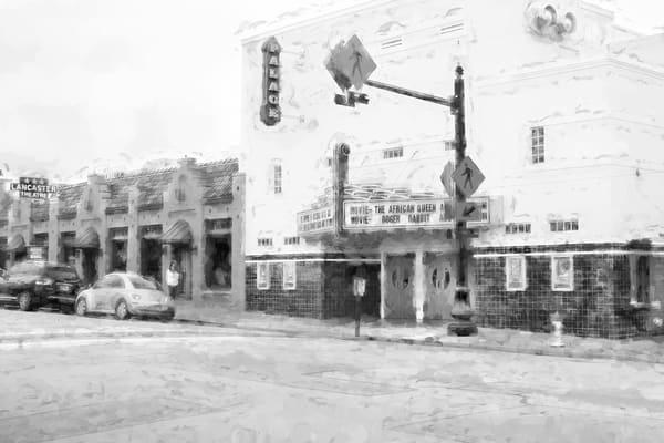 Photographs of Grapevine Texas Historic Main Street Palace Theater, BW Horizontal