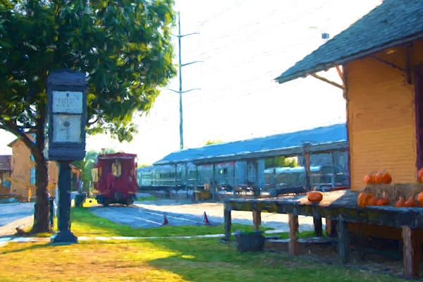 Photographs of Grapevine Texas and Historic Main Street Train Depot with Red Train and Pumpkins, Fall
