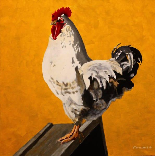 Rooster Heartburn Acrylic For Sale As Fine Art by Dennis Broockerd