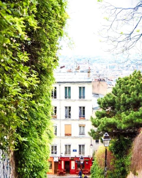 Vista of Paris Rooftops from Montmartre with Red Door