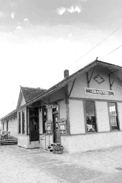Photographs of Grapevine Texas and Historic Main Street Train Depot BW
