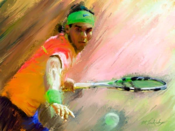 Rafael Nadal painting   Sports artist Mark Trubisky   Custom Sports Art