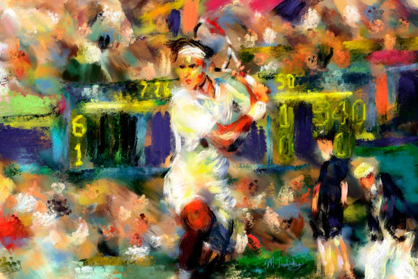 Roger Federer painting | Sports artist Mark Trubisky | Custom Sports Art