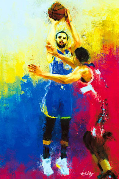 Sports artist Mark Trubisky's limited edition canvas of Stephen Curry.  Artist embellished canvas.