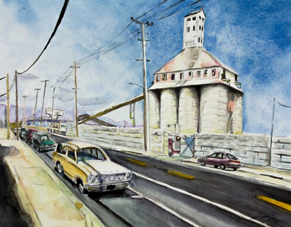 Lone Star Concrete plant rises above a deserted street in West Oakland. Watercolor gives this urban view a soft ethereal tone.
