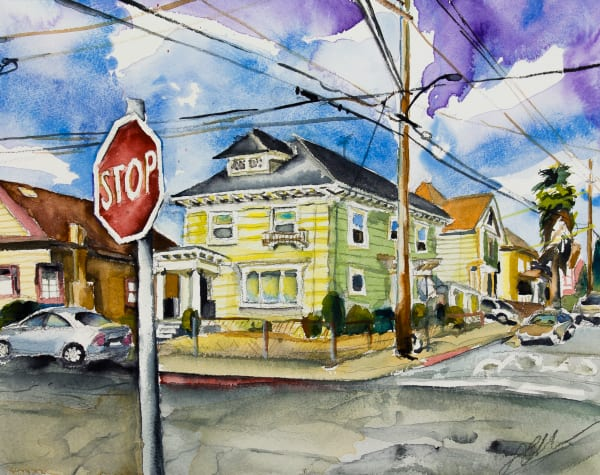 Oakland Mansion with Stop Sign Fine Art Print