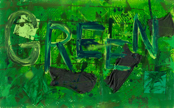 Mixed Media Painting- Art - Crayola Feelings Green- for Sale