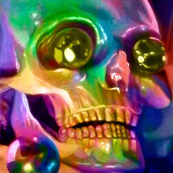The rainbow skull with Christmas eyes